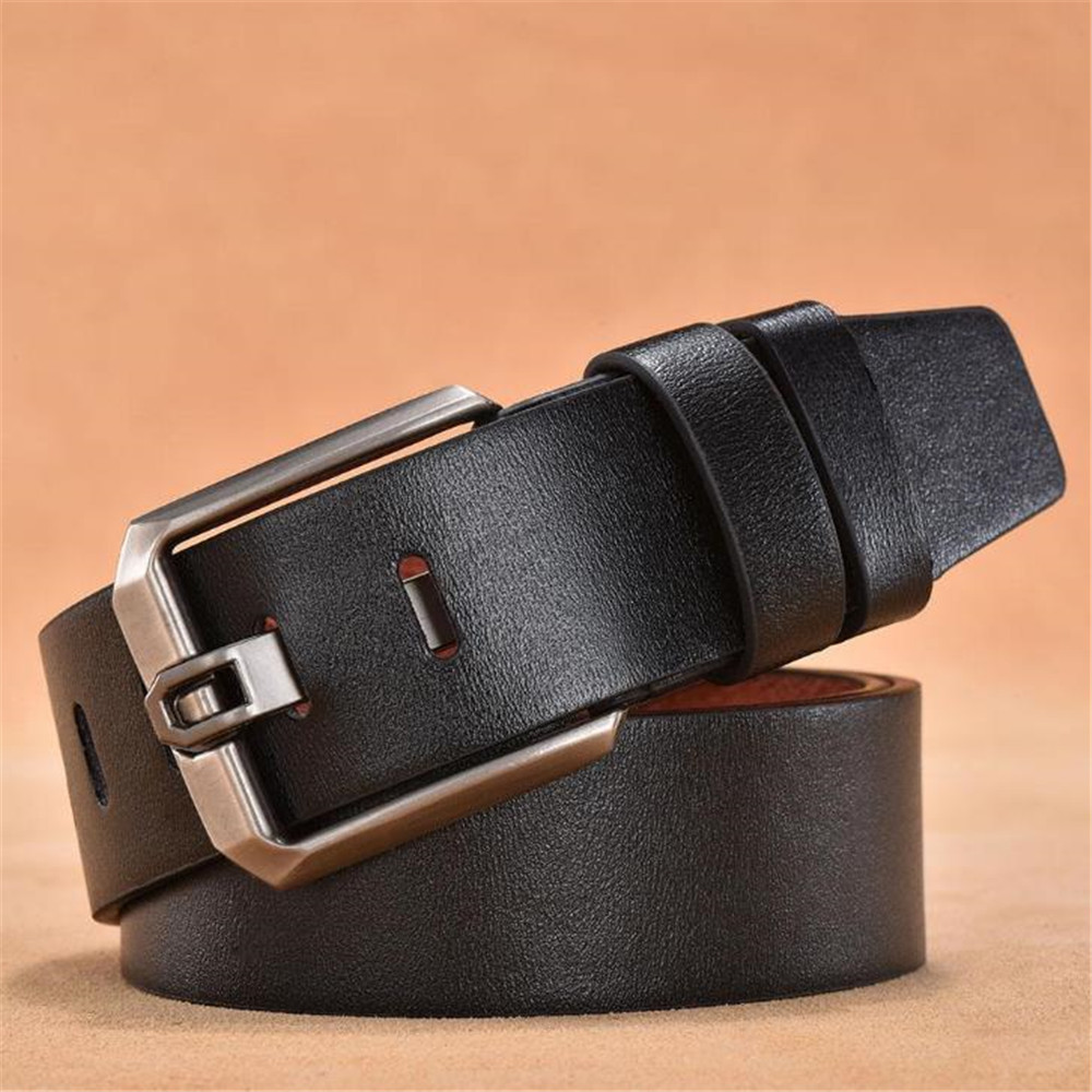 Ouyitaomee Leather   Belts   Men Pin Buckle Male Waistband Black Genuine Leather Embossed Men's   Belt   4.00cm Width Gift For Man