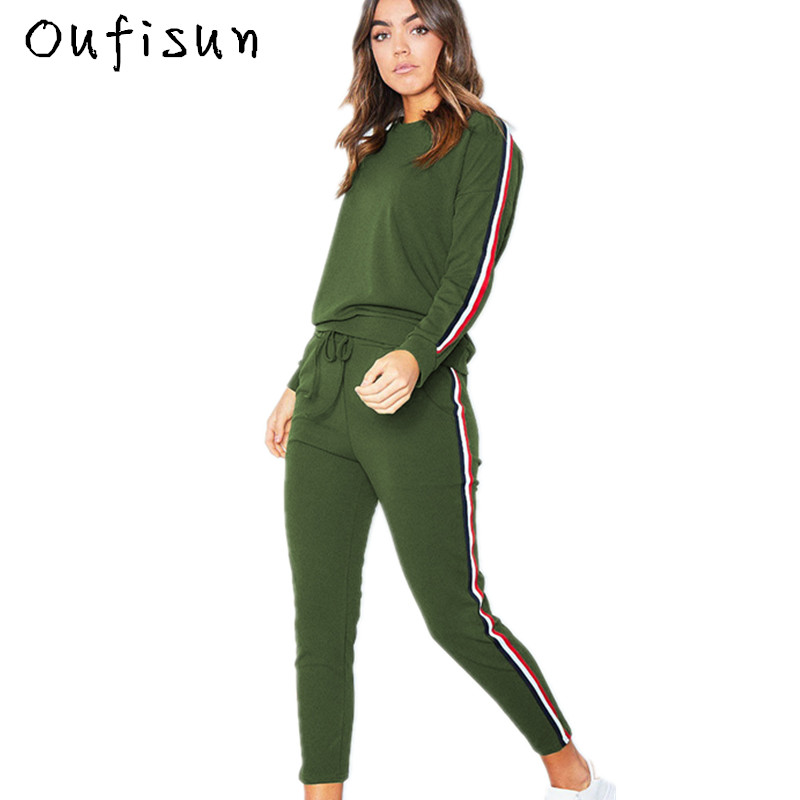 Oufisun Women Slim Sportswear Suit Casual Sexy Long Sleeve Top And Pencil Pants Tracksuits 2018 Autumn New Female Two Piece Set