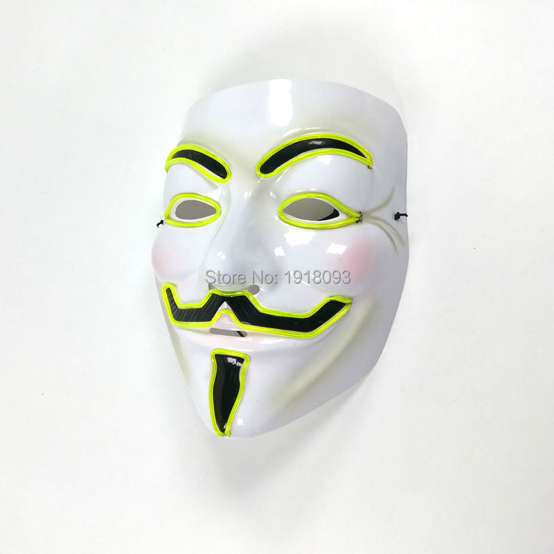 2019 Hot 10 Type Select El Wire Flashing Novelty Lighting LED Cosplay Anonymous Mask Glowing Vendetta Mask Party Dance Halloween