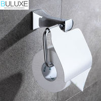 BULUXE Brass Bathroom Accessories Toilet Rolling Holder Chrome Finished Paper Holder Wall Mounted Bath Accessories HP7722