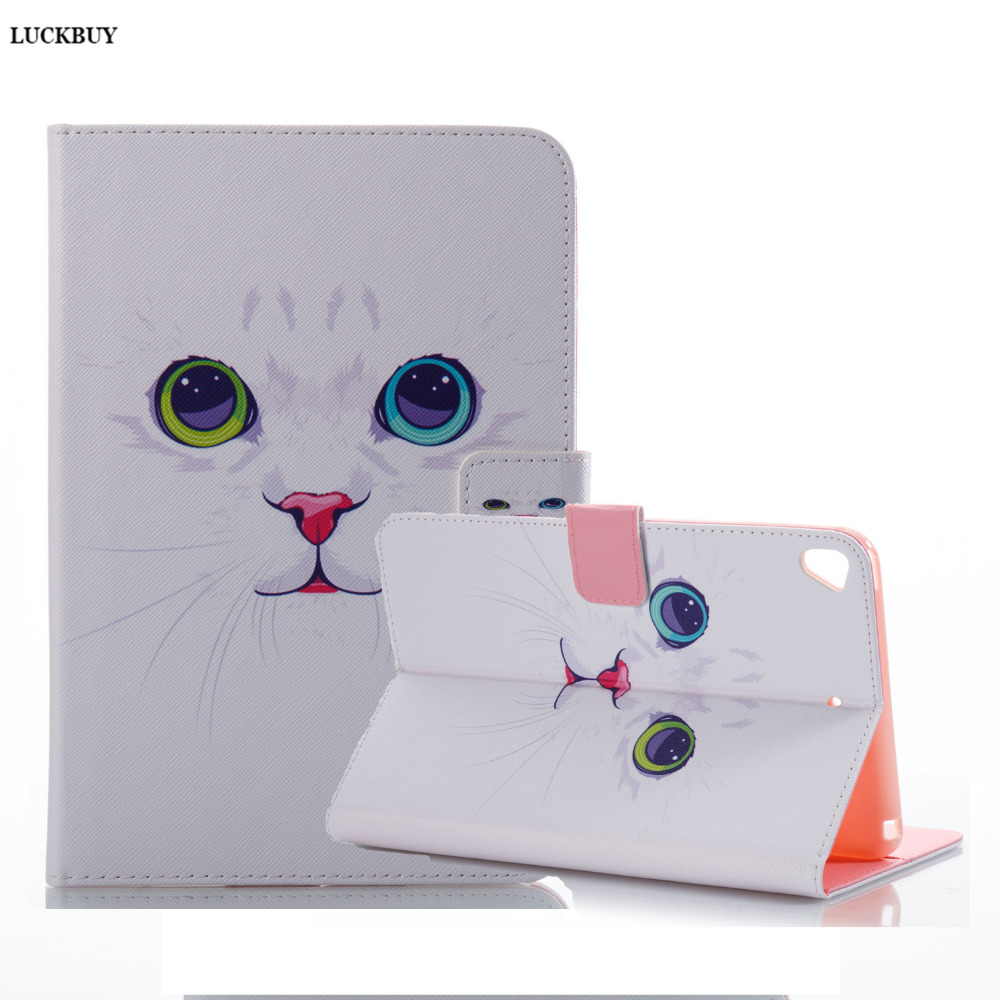 LUCKBUY 2017 Hot Sale For Apple iPad Mini 5 Flip PU Leather Painting Case Tablet Smart Slim Book Stand Cover with Wallet Cards