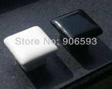 24pcs lot free shipping Porcelain black glaze square cabinet knob\porcelain handle\porcelain knob