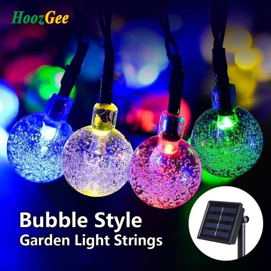 HoozGee Solaire Chaîne de L'éclairage Extérieur Jardin Lumières Multicolore 30 LED Boule de Cristal De Noël Arbres Party Decor Rêve Fée Lampe