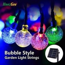 HoozGee Solar String Lights Outdoor Multicolor 30 LED Crystal Ball Christmas Trees Garden Party Decor Dream Fairy Lamp