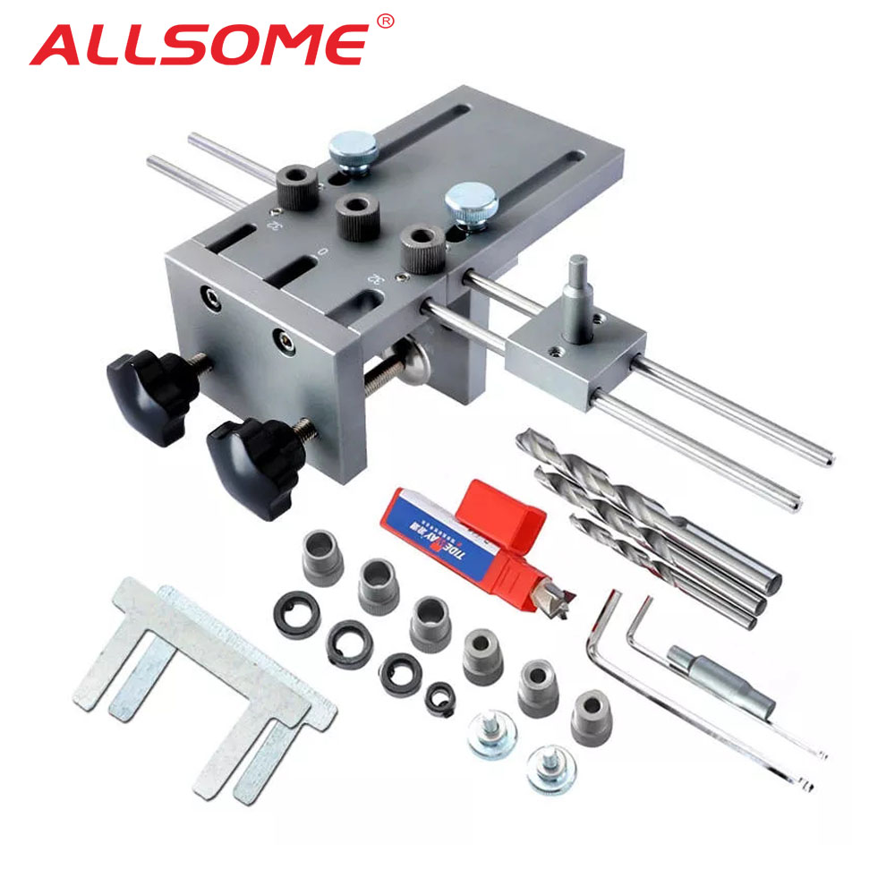 ALLSOME 3 In 1 Dowelling Jig 6 8 10mm Wood Drilling Guide Locator Adjustable Dowel Jig