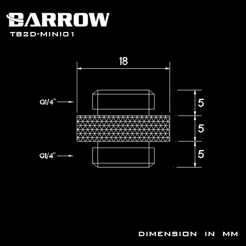 Купить с кэшбэком BARROW G1/4 Male to Male Rotary Connectors / Extender 5mm M to M Mini Dual Fitting Accessories Metal Fittings