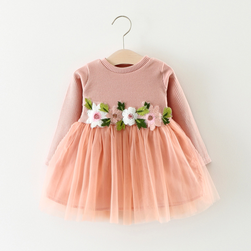 Autumn winter baby girl dress Fashion flowers kids clothes Lase wedding party costume for children baby girls birthday dresses baby girls white dresses for wedding and party wear girl princess dress kids lace clothes children costume age 3 4 5 6 7 8 9 10
