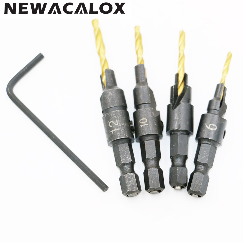 Wood Countersink Drill Bit Set Hex Shank Chamfer Bore Hole Cutter Woodworking Electric Carving Tool Boring Counterbore 5pcs/set new 50mm concrete cement wall hole saw set with drill bit 200mm rod wrench for power tool