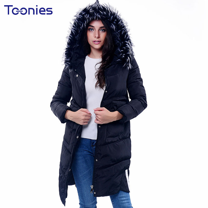 Women Long Winter Jacket Parkas2017 New Cotton Padded Down Thickening Coats Faux Fur Hooded Coat Female Wadded Jackets Outwear new winter light down cotton coat women long design hooded jackets casual slim warm jacket coats parkas female outwear qh0454