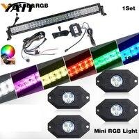 Yait 32 дюймов светодиодный свет бар rgb 5D бар свет светодиодный + RGB светодиодный Рок Огни комплект bluetooth Управление с 4 накладки синхронизации д
