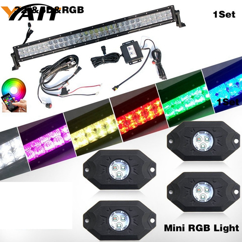 Yait 32inch LED Light Bar RGB 5D Bar Light Led + RGB LED Rock Lights Kit Bluetooth Control with 4 pods Timing for Off Road Truck