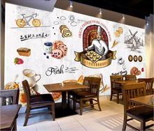 Custom wallpaper mural retro European dining gourmet bread milk tea leisure background wall