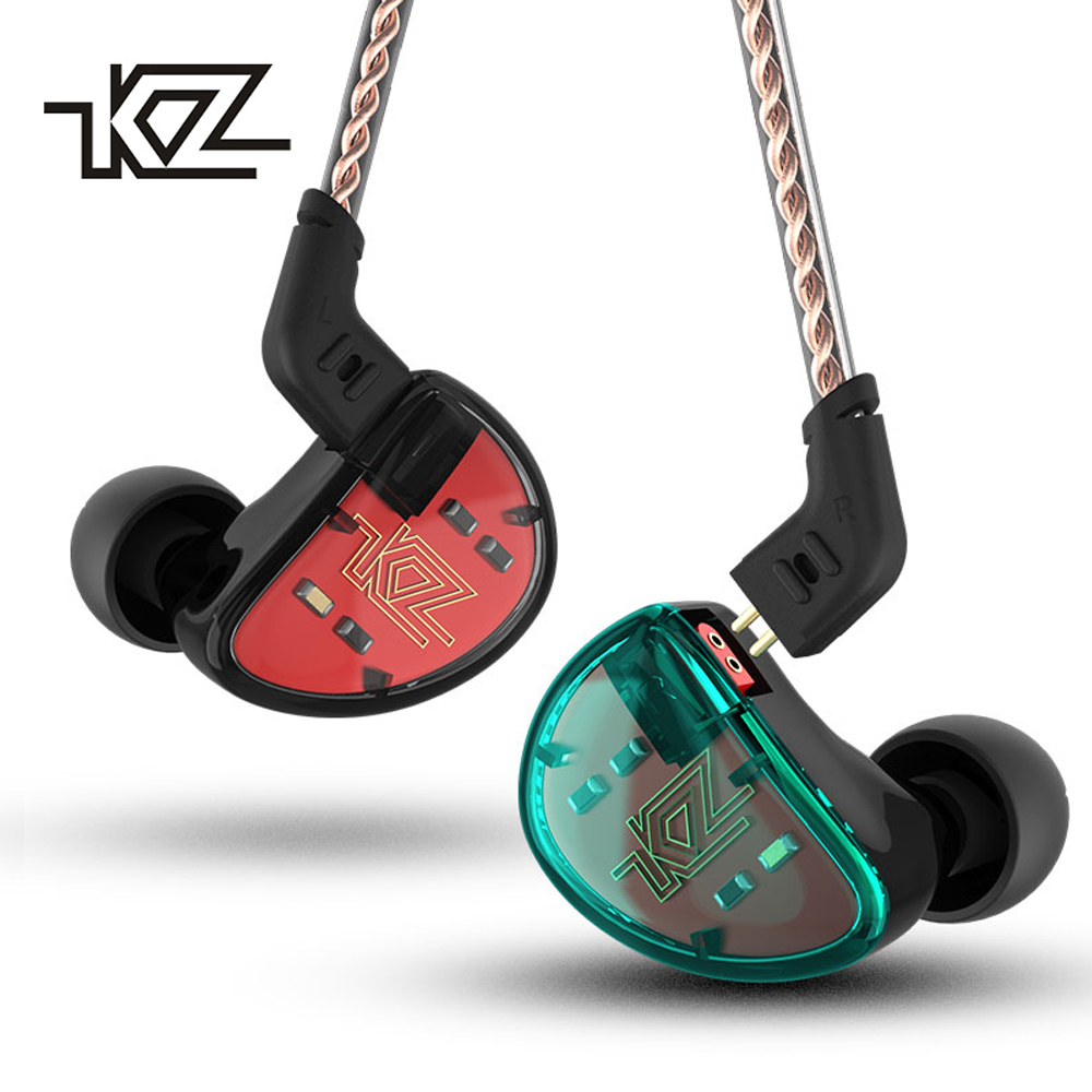 KZ AS10 Earphones 5BA Balanced Armature Driver HIFI Bass Stereo Headset In Ear Monitor Sport Headphone Noise Cancelling Earbuds kz ed2 stereo metal earphones with microphone noise cancelling earbuds in ear headset dj xbs bass earphone hifi ear phones