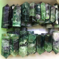 1kg High quality polishing natural rock green and purple fluorite crystal points wand for sale