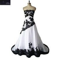 Elegant Strapless Wedding Dress 2018 BlacK Lace White Taffeta A Line vestidos de noiva Plus Size Bridal Dress
