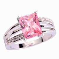 2015 New Fashion Jewelry 925 Silver Ring For Women Romantic Pink Topaz Emerald Cut Size 6 7 8 9 10 11 12 Free Shipping Wholesale