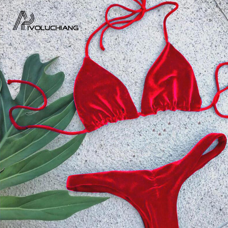 <font><b>2018</b></font> New <font><b>Sexy</b></font> Gold Velvet <font><b>Bikinis</b></font> High Waist Thong Swimsuit Ladies Beach Bathing Swimming Suit For Swimwear Biquini <font><b>Micro</b></font> <font><b>Bikini</b></font> image