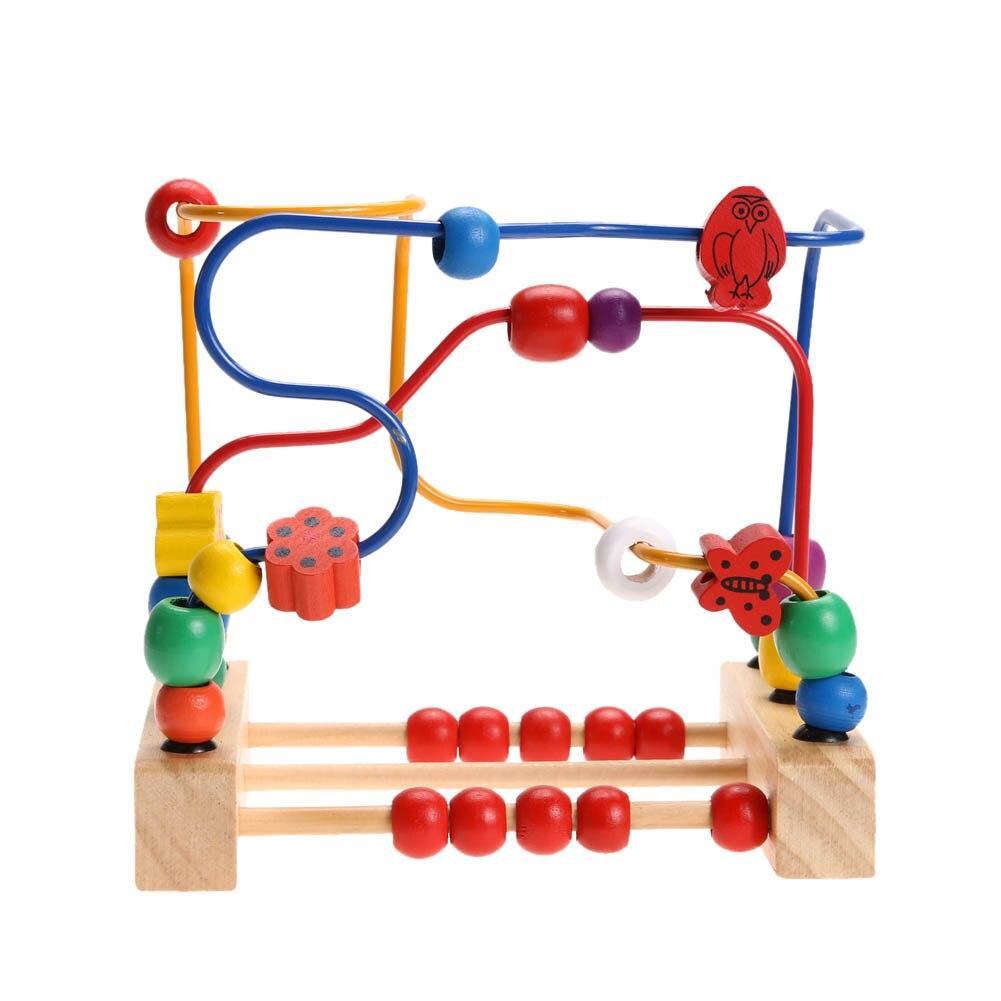 Holz Baby Math Spielzeug Zählen Kreise Perle Abakus Draht Labyrinth Achterbahn Rund-korn-draht Holz Labyrinth Bildungs-spielzeug