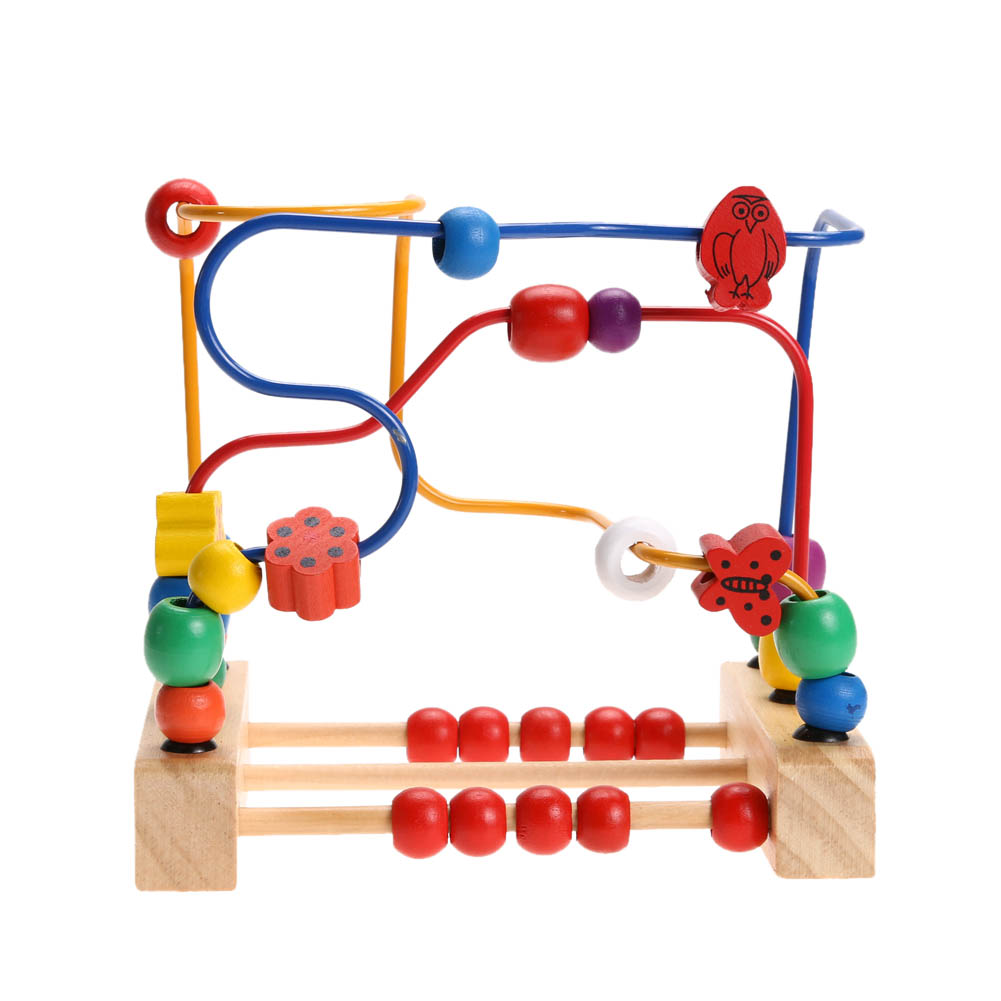 Wooden Baby Math Toys Counting Circles Bead Abacus Wire Maze Roller Coaster Around Beads Wire Wood Maze Educational Toys 13 column abacus soroban japanese abacus wooden frame and beads wooden abacus chinese calculator with beautiful box