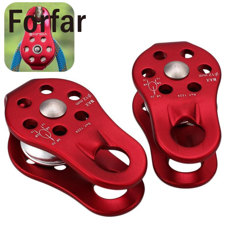 Forfar 2Pcs 20KN Climbing Fixed Pulley Outdoor Rock Mountaineering Rope Carabiners Pulley Fixed Side Clasps Gear Safety Survival multifunctional professional handle pulley roller gear outdoor rock climbing tyrolean traverse crossing weight carriage fit