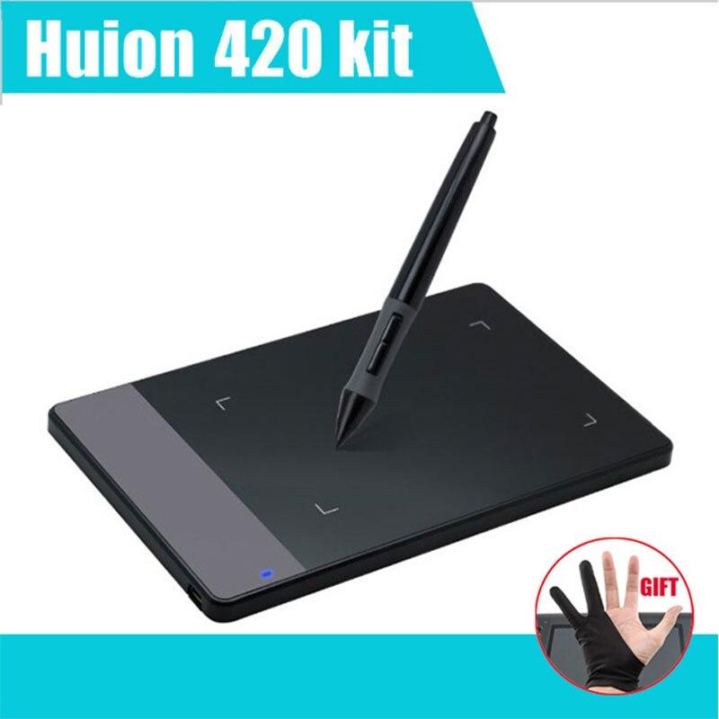 """Ücretsiz Kargo Huion 420 4 """"x 2.23"""" profesyonel Sanat Grafik Dijital Çizim Tablet Kablosuz Kalem ile Boyama Imza Pedi"""