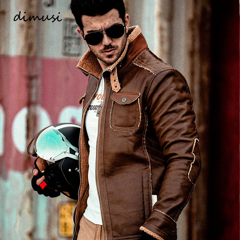 DIMUSI Men's PU Leather Jacket Winter Moto Air Force Thick Coat Retro Jackets Fur Collar Outerwear Men Tactical Jacket 4XL,TA200