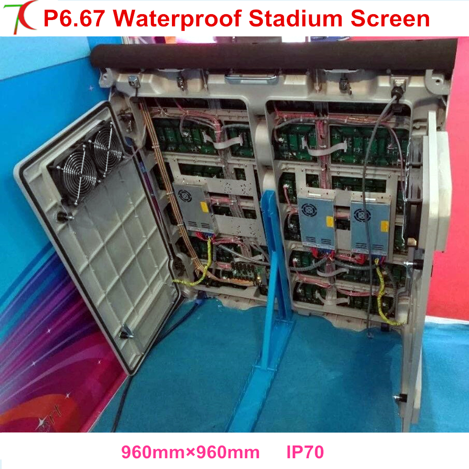 P6.67 outdoor Stadium Screen 960*960mm full color water-proof equipment cabinet display ,5scan,6500cd