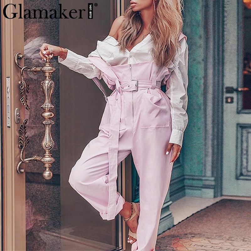 Glamaker High waist pink loose   wide     leg     pants   Women summer sashes causal   pants   Ladies bottoms sexy summer trousers overalls 2019