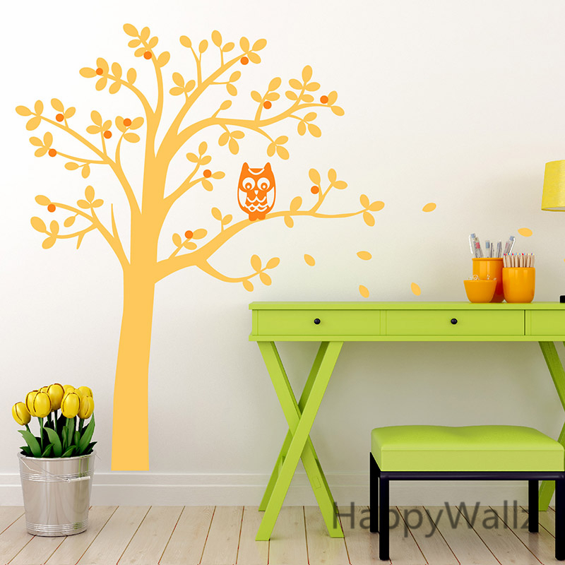 Baby Nursery Tree Wall Sticker Children Owl Tree Wall Decal Kids Room DIY Baby Nursery Tree Wallpaper Hot Sale T30