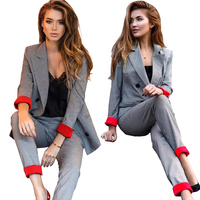2019 Women Plaid Double Breasted Blazer Two Piece Sets Top and Pants Suits Contrast Color Notched Collar Office Sets Korean Suit