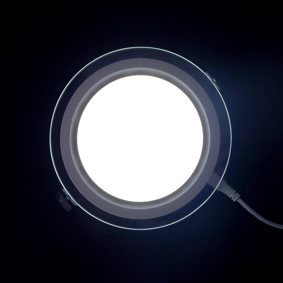 Dimmable LED Panel Downlight 6W 12W 18W Round Glass Ceiling Recessed Lights SMD 5730 Warm Cold White LED Panel Light AC85-265V