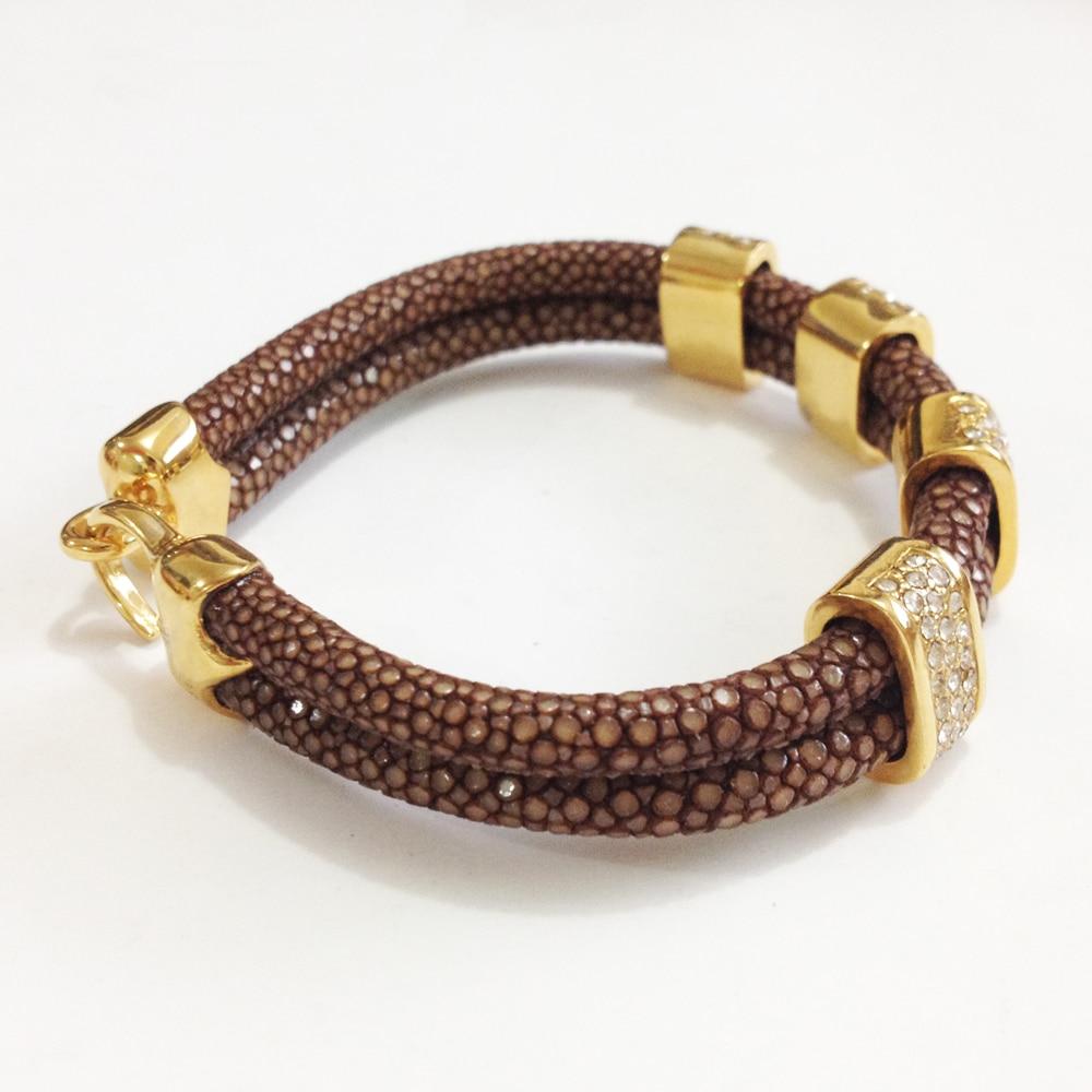 Nouveauté Bracelet en cuir Stingray marron véritable 5mm bracelet en cristal stingray pour hommes et femmes - 5