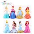 8pcs/Set 9cm  PVC Princess Doll With Magic Clip Dress Elsa Anna  Action Figures Toys For Girls