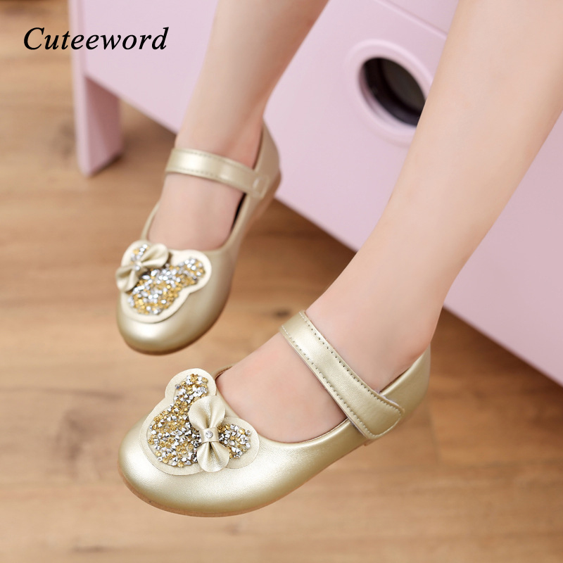 Girls leather shoes children casual shoes 3-12 years old spring and autumn new fashion sequin bow kids princess shoes soft sole