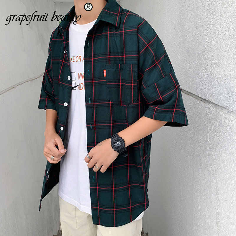 M 5XL plus Size New Thin Breathable plaid Men Shirts half Sleeve blouse for younger Summer 2019 Business social in Casual Shirts from Men 39 s Clothing