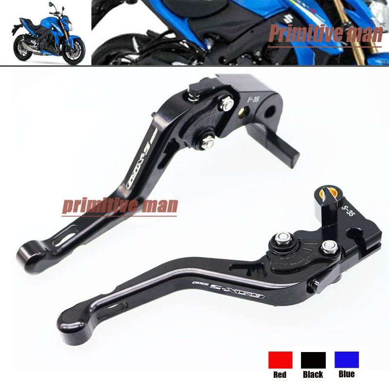 ФОТО For SUZUKI GSX S1000F GSX S1000 2015-2016 Motorcycle Accessories Short Brake Clutch Levers LOGO GSX-S1000 Black