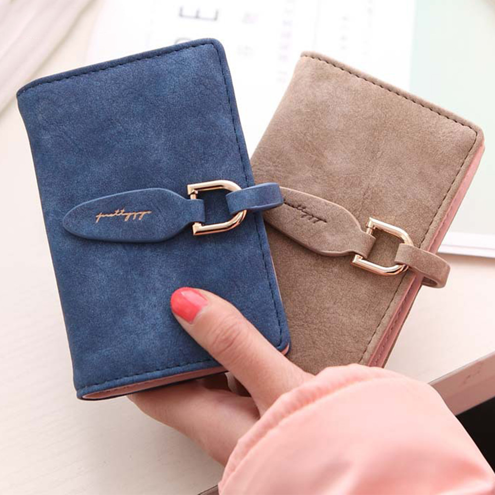 Купить с кэшбэком 20 Bits Solid Fashion High Capacity Women Card Holder Frosted PU Leather Hoop Women's Card Holder Short Design Ladies ID Holder