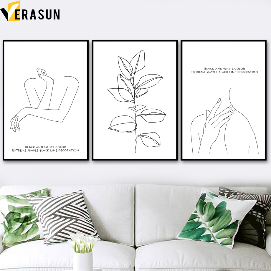 VERASUN lijn Quadro Posters en Prints Wall Art Nordic Poster Canvas - Huisdecoratie