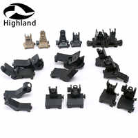 Hunting AR15 Airsoft Handguard 45 Degree Angle Offset Side Backup Iron Sight Front Rear Sight Set fit 20mm Picatinny Rail