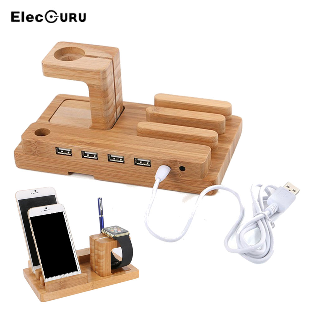 Wooden USB Charge Dock For iPhone iPad Apple Watch iWatch Charging Dock 4 USB Ports Mobile Phone Holder Stand with Charger Cable
