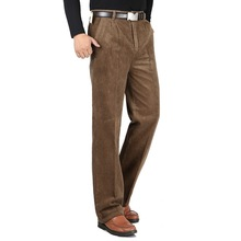 Autunno Inverno degli uomini di velluto a coste casuale pantaloni a vita alta allentato medio di età compresa tra pieghettato solido caldo addensare pantaloni di Cotone pantaloni