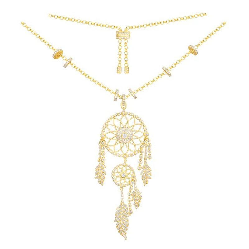 SLJELY Real 925 Sterling Silver Gold Color Dream Catcher Necklace Cubic Zirconia Stones Leaves Feather for