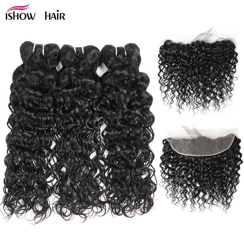 Ishow Brazilian Water Wave Bundles With Closure Non Remy Human Hair Bundles With Frontal Pre Plucked