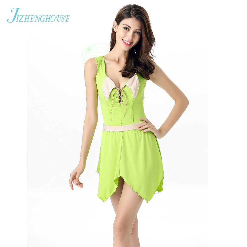 JIZHENGHOUSE Cute Girl Sexy Costume With Wing Light Green Bee Girl Dress Women Fashion Sexy Costume For Halloween
