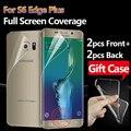 Protector de pantalla frontal y posterior cobertura completa para samsung galaxy s6 edge plus película protectora de pantalla para s6 edge plus 2F + 2B * caso