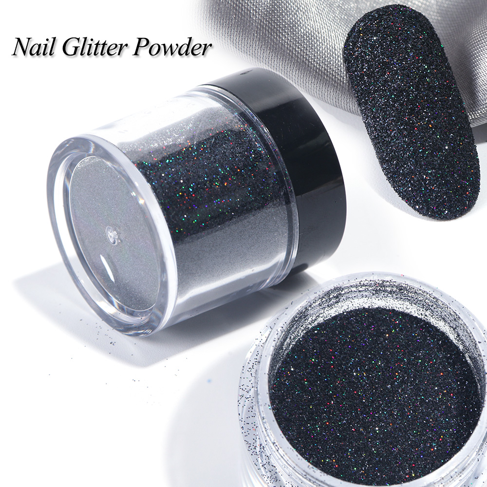 186069f7a3 1 Box Black White Nail Glitter Dipping Powder Shiny Pigment Dust Laser  Sugar Nail Art Sequins ...