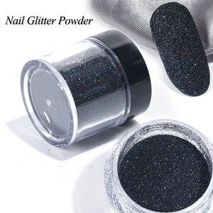 Image 3 - 1 Box czarny biały paznokci Glitter zanurzenie proszek błyszczący Pigment pył Laser cukier Nail Art cekiny Glitters dekoracje Manicure TRMN