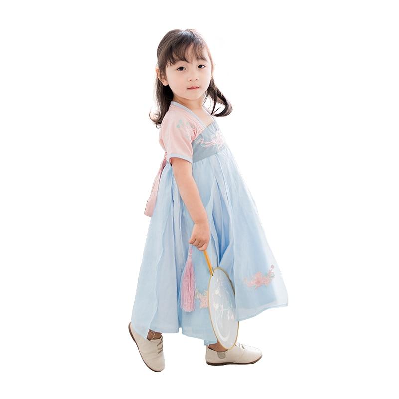Robe longue brodée de fleurs pour petites filles | Tenue d'été simple, tang hanfu, costume de folk traditionnel, pour enfants de 2-8 ans