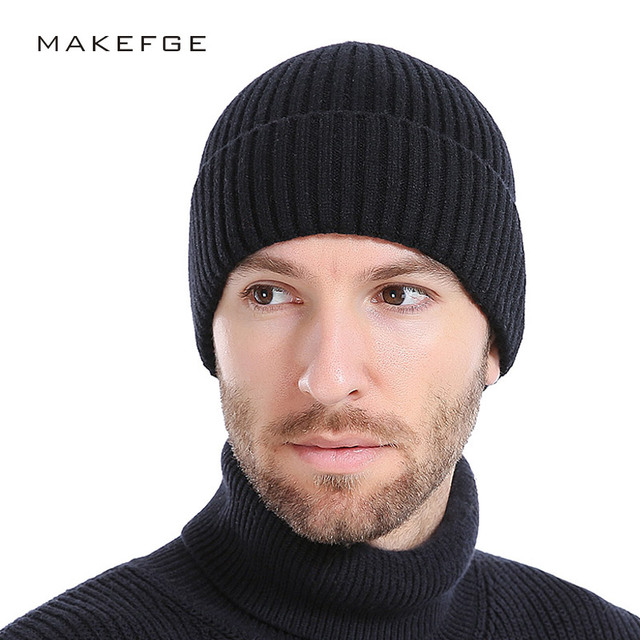 dc557f92d9c1 Wool Men's Winter Hats 2017 Fashionable Knit Black Hats Autumn Hats Thick  and Warm Hats Skullies