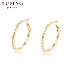 Xuping Fashion kolorowe kolczyki Hoop z Rhinestone biżuteria dla kobiet walentynki prezenty 96903